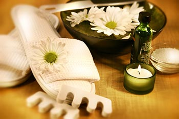 Day spa items including slippers